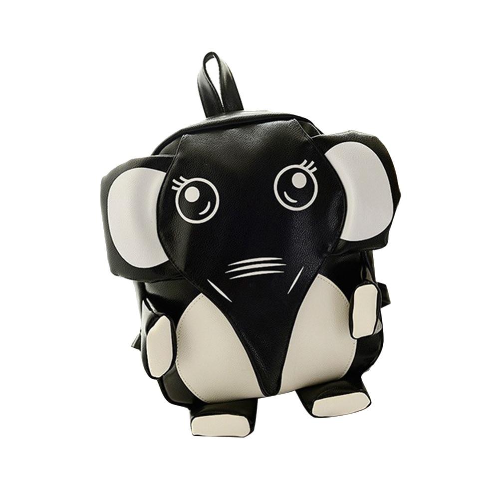 Women Leather elephant Backpack Teenage Girls Personality Heart Shape Bag Lovely Black Angel Bags Stylish Newest