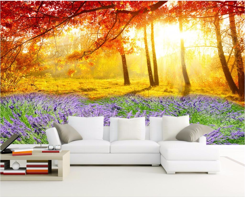 Custom photo 3d wallpaper Lavender flowers and autumn trees picture room decor painting 3d wall murals wallpaper for walls 3 d custom photo 3d wall murals wallpaper mountain waterfalls water decor painting picture wallpapers for walls 3 d living room