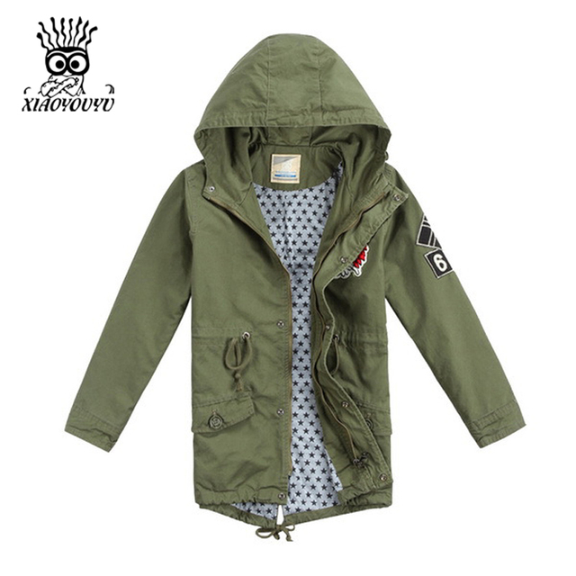 XIAOYOUYU Size 110-150 Boy Casual Cotton Trench  All-match 4 Colors Autumn Spring Children Fashion Outwear Khaki / Army Green
