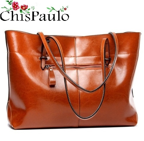 CHISPAULO Famous Brands Designer Handbags High Quality Cowhide Oil Wax Women Bags 2017 Casual Women's Genuine Leather Handbags G chispaulo women bags brand 2017 designer handbags high quality cowhide women s genuine leather handbags women messenger bag t235