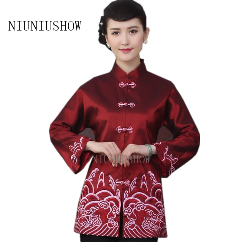 High Fashion Burgundy Chinese Tradition Womens Embroider Coats Jackets Outerwear National Women Tang Suit Jacket M L XL XXL 3XL
