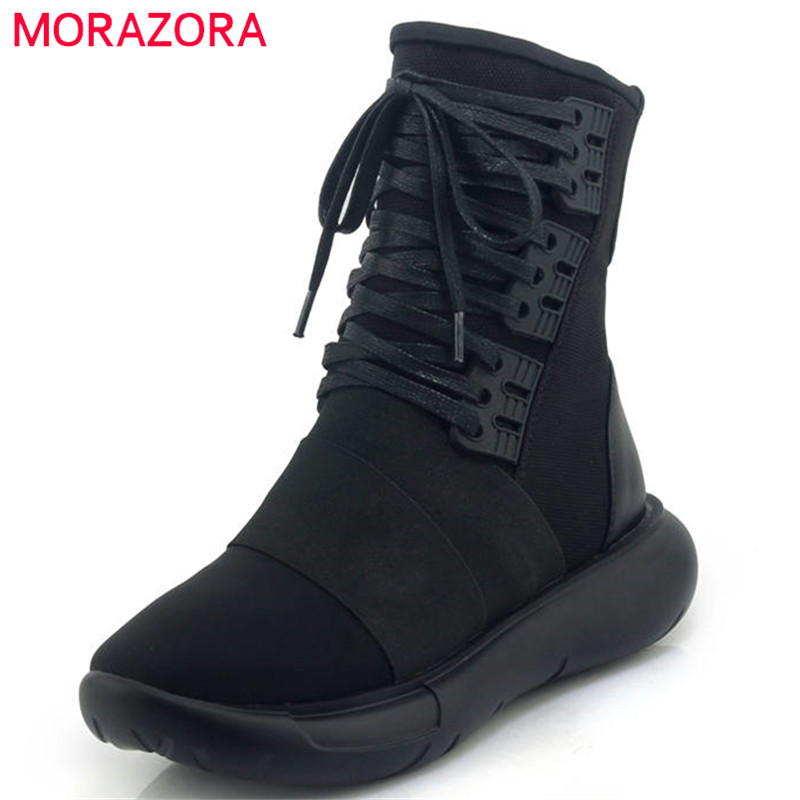 MORAZORA 2020 top quality genuine leather boots lace up ankle boots women comfortable flat sneakers shoes