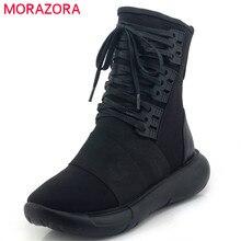 Morazora 2020 최고 품질의 정품 가죽 부츠 레이스 발목 부츠 여성 편안한 플랫 스니커즈 신발 여자 가을 부츠