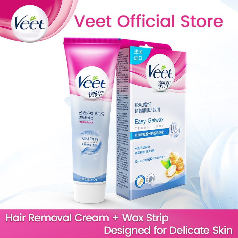 Veet Hair Removal Cream Wax Paper For Delicate Skin With Aloe Vera Vitamin E Cold Wax Strips No Need To Heat