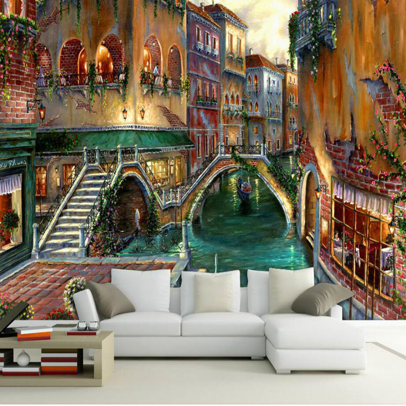 3d Wall Paper Decorative Oil Painting 3d Wallpaper for Living Room Backdrop Home Improvement  Venice Watertown Landscape Murals