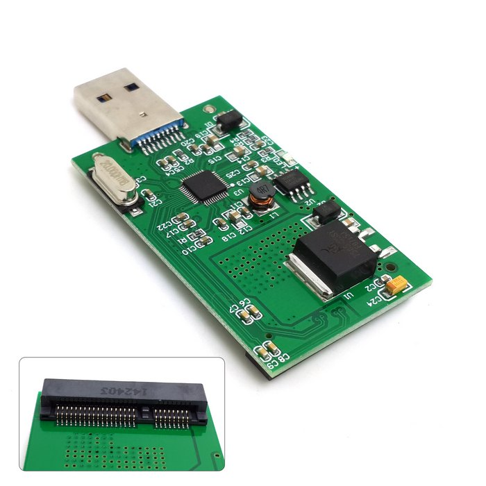 The head of mini PCI-E USB mSATA SSD adapter plate 3 solid outer transfer line is connected with the hard disk box EasyDrive