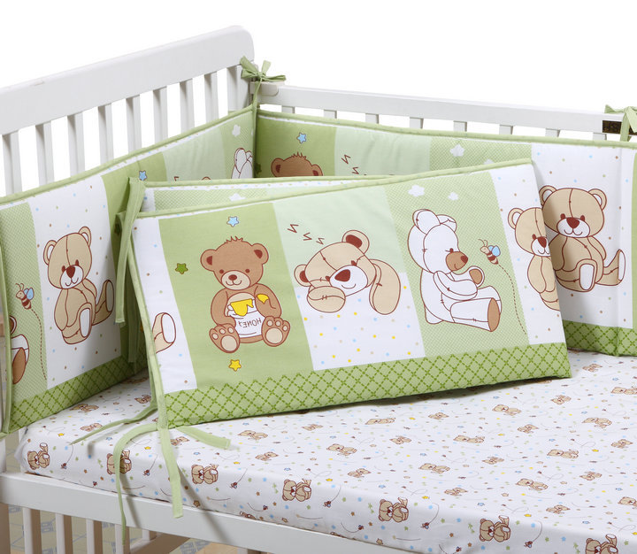 5Pcs Cartoon Cotton baby crib bumper kit Newborn Bed Bumpers pads Fitted Sheet Crib 100% Cotton baby bedding sets neutral gender double fitted sheet 160х200 u s polo assn double fitted sheet 160х200