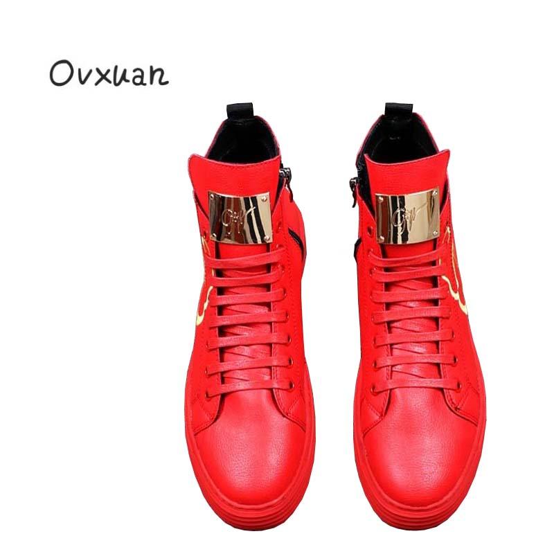 Ovxuan Luxe Métal Mocassins Italien Mâle Broderie Noir Robe Sneakers Feuille De Automne Moto Top rouge Hommes Chaussures Pour Cheville zqrz7wO
