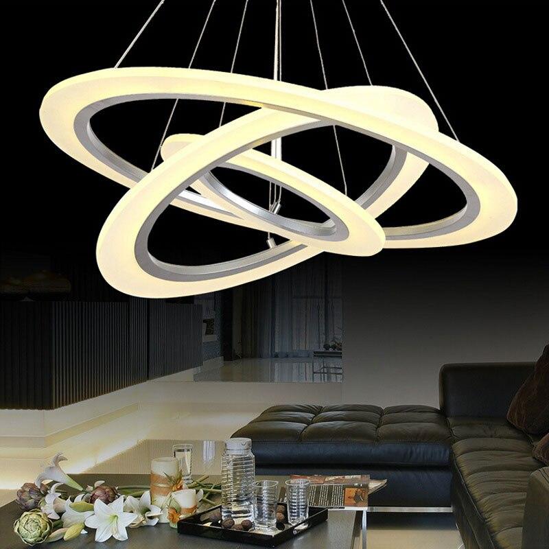 Moderne Led lustre kroonluchter Acryl Ring Woonkamer led lamp Rvs ...