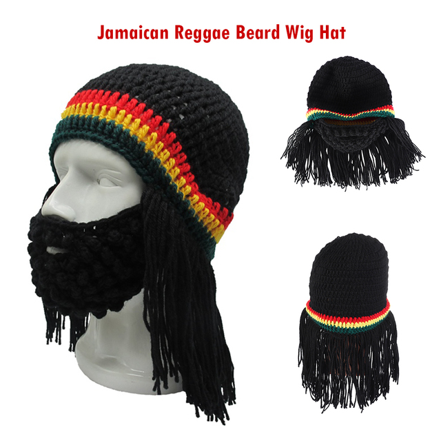 Hot Unisex Funny Creative Knitted Hat Winter Ski Caps Party Cosplay Costume  Accessories Jamaican Reggae Beard Wig Beanie Hat 3c13f70466a