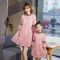 Family matching clothes mother daughter dresses princess lace floral hollow dress mom and me beige pink dress clothes children