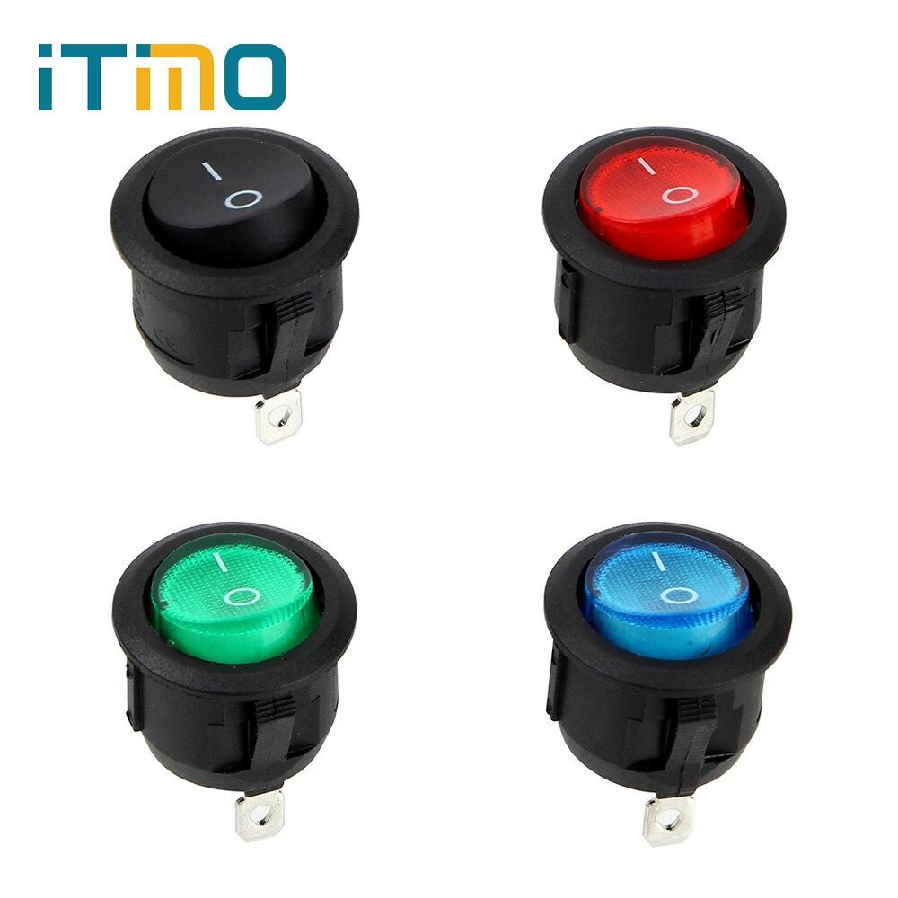 ITimo 4pcs/Set 220V ON-OFF Illuminated Round Rocker Switch
