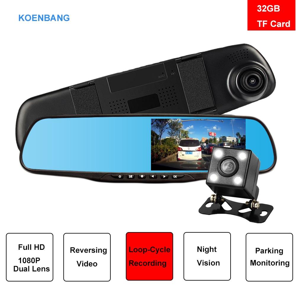 koenbang dual lens car camera rearview mirror fhd 1080p night vision auto camera cars dvr. Black Bedroom Furniture Sets. Home Design Ideas