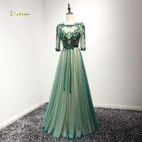 Loverxu Designer Sexy Backless Robe De Soiree Beaded Appliques Green Evening Dress 2017 Scoop Neck Half