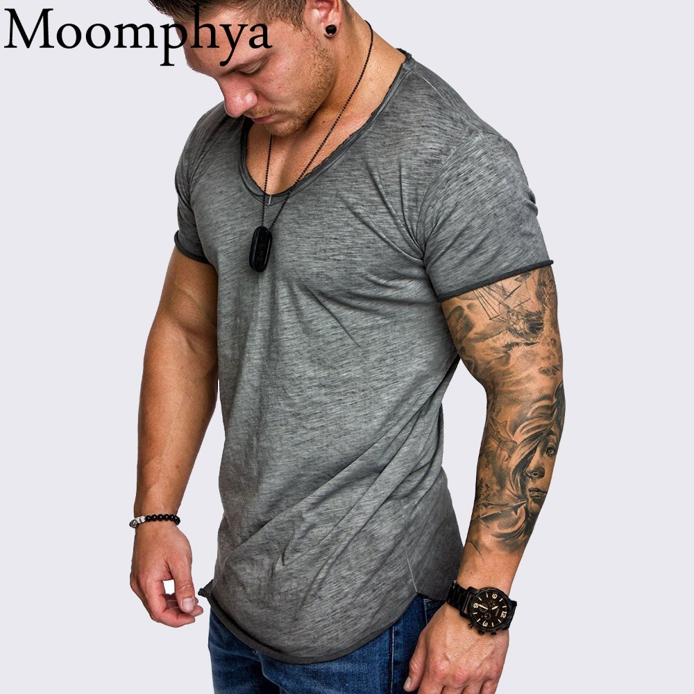 Moomphya Oversize Stylish Men t shirt Splicing Longline curved hem slim t-shirt men Cool summer tshirt Hip hop streetwear tops