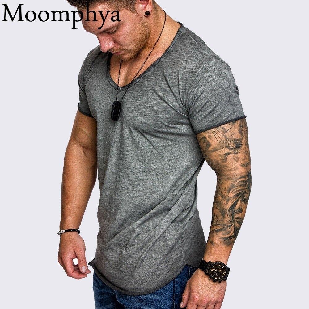Moomphya Oversize hombres con estilo camiseta empalme Longline curved hem slim camiseta hombres verano fresco Hip hop streetwear tops