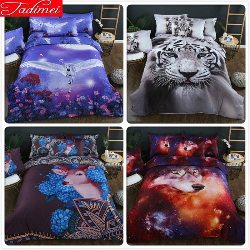 3D Animal Pattern Blue Unicorn Duvet Cover Pillowcase Bedding Set New Creative Adult Kids Child Bed Linen Single Queen King Size
