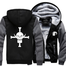 2016 new winter men coat Anime One piece Monkey D Luffy sweatshirts casual suprem hoodie personalized Skull tracksuit