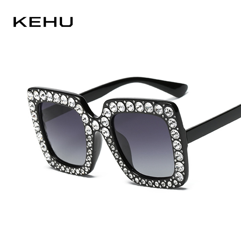 KEHU Brand Design New Fashion Square Sunglasses Women Personalized Diamond Frame Woman Sunglasses Retro Square Glasses K9367