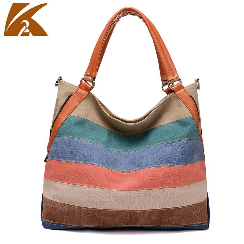KVKY Bags for Women 2017 Canvas Bag Tote Striped Women Handbags Panelled Canvas Lady Shoulder Bags Patchwork aosbos fashion portable insulated canvas lunch bag thermal food picnic lunch bags for women kids men cooler lunch box bag tote