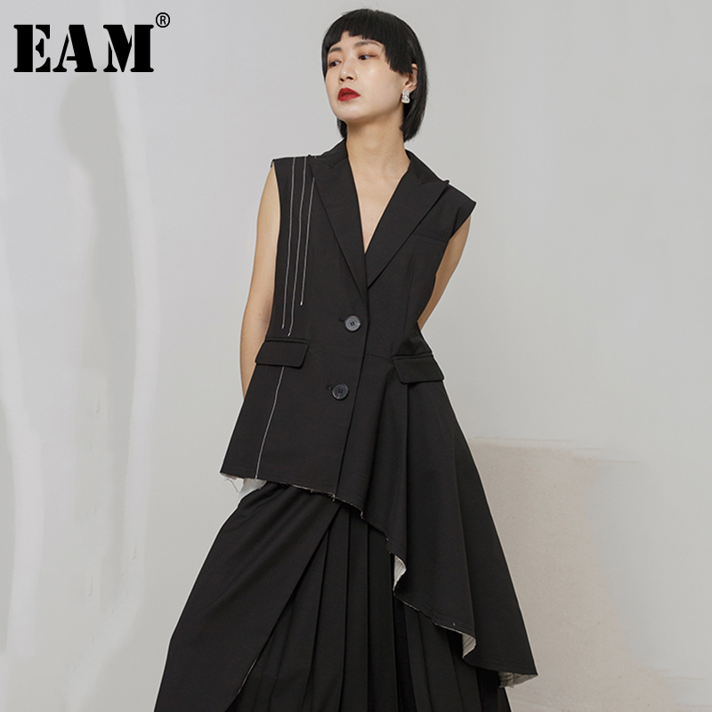 EAM 2019 New Spring Summer V collar Sleeveless Black Irregular Hem Pleated Stitch Cut Style