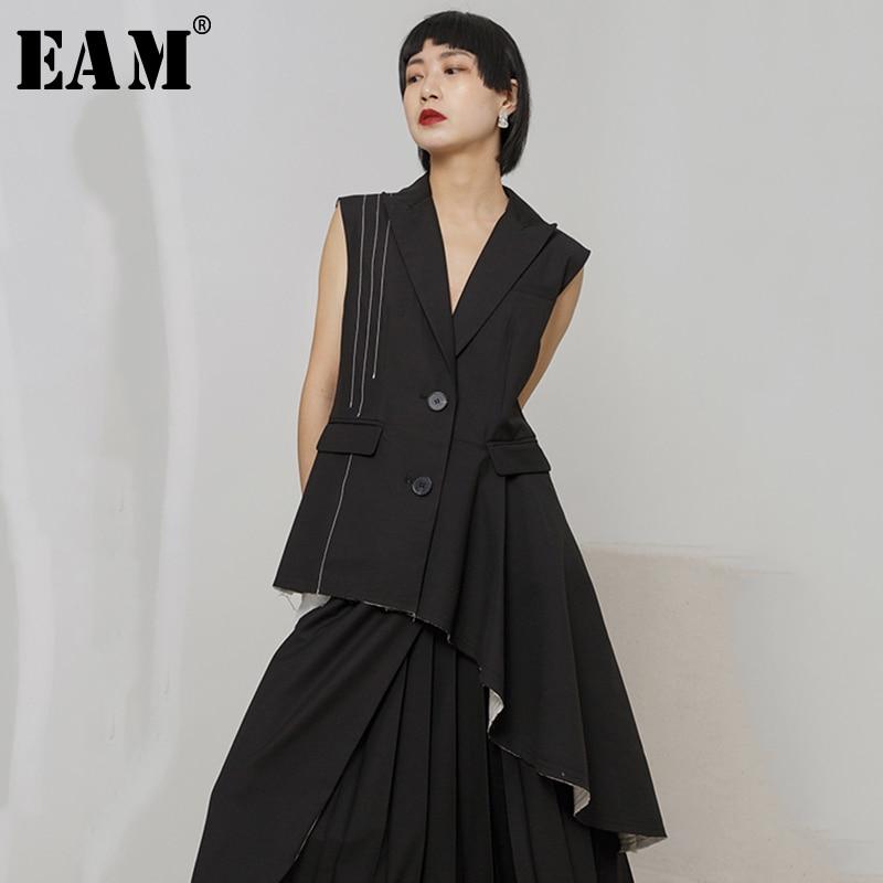 [EAM] 2019 New Spring Summer V-collar Sleeveless Black Striped Irregular Rhinestone Stitch Loose Vest Women Fashion Tide JO368