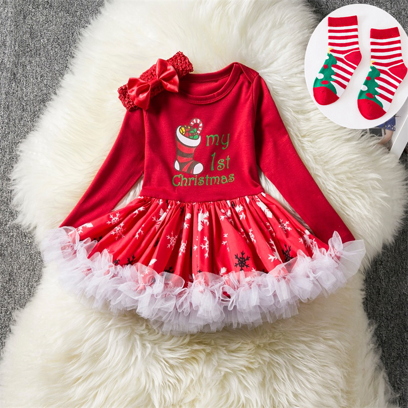 Newborn Baby Girls Christmas Costume Tutu Dress My First Christmas Baby Clothes Set Headband Xmas Socks New Born Baby Clothing newborn baby girl clothes set 3pcs kid party my first christmas cotton bodysuit sequin bowknot tulle tutu skirt headband outfit page 1