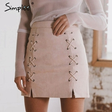 Simplee Autumn lace up leather suede pencil skirt Winter 2017 cross high waist skirt Zipper split bodycon short skirts womens