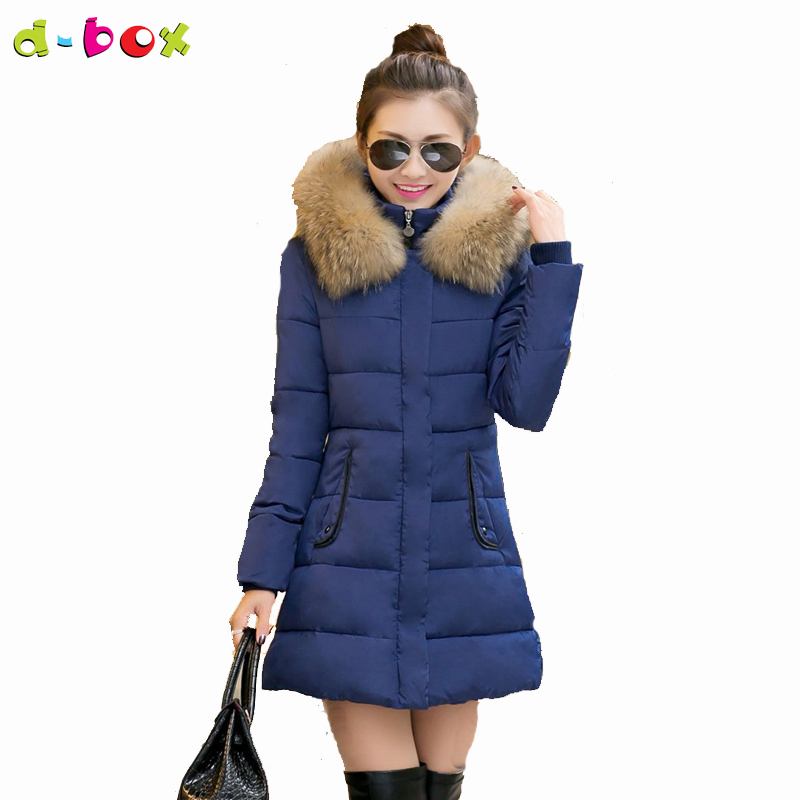 New Fashion Warm Slim Long Duck Down Coat Cotton-padded Winter Coat Hooded Style with Fur Collar Winter Jacket Women white duck down 2016 fashion women winter coat elegant solid slim hooded zipper long down coat