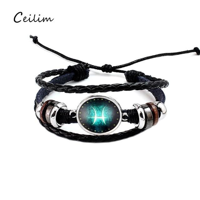 2018 Silver 12 Zodiac Charm Bracelet Men Jewelry Black Braided Leather Women Friendship Gift