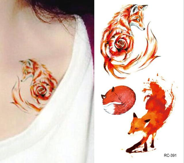 Tatouage Autocollants Renard Rouge Etanche Hommes Et Femmes Durable