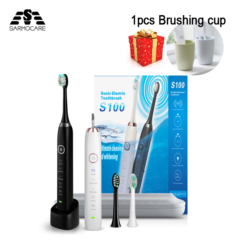Ultra sonic sonic Elektrische Zahnbürste S100 5 modelle Drahtlose akku IPX7 Wasserdichte Induktive ladegerät led-anzeige