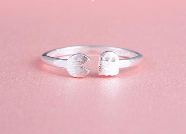 ee339e257 Fashion Minimalism Cute silver plated geometric adjustable Resizable pacman  engagement rings for women Men Couples BFF Jewelry
