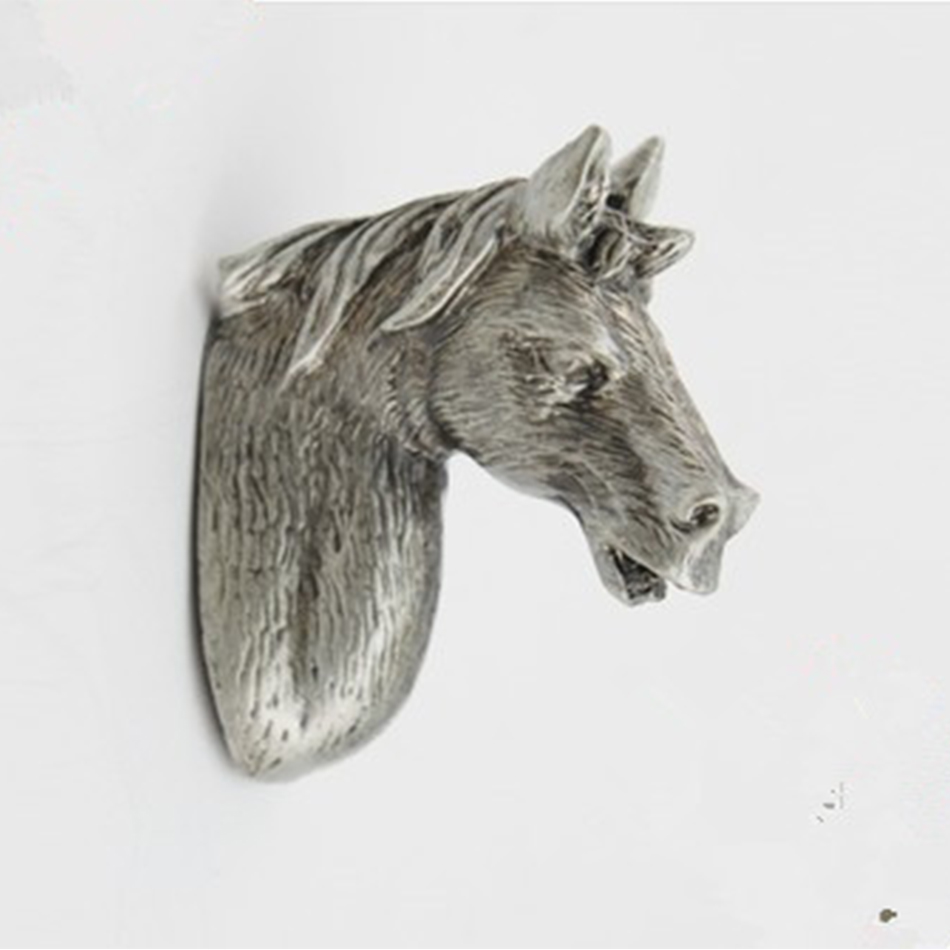Aliexpress.com : Buy Antique Silver Cartoon Horse Head Cabinet ...