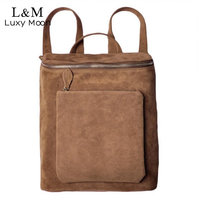 Women Backpack Vintage Suede Leather Backpacks For Teenage Girls Shoulder Street Bag School Black Travel Bags mochilas XA580H