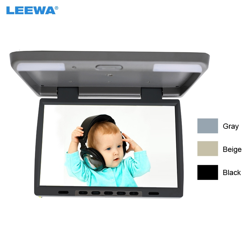 LEEWA DC12V 15.4 Inch Car/Bus TFT LCD Roof Mounted Monitor Flip Down Monitor 2-Way Video Input 3-Color Black, Grey, Beige #1291