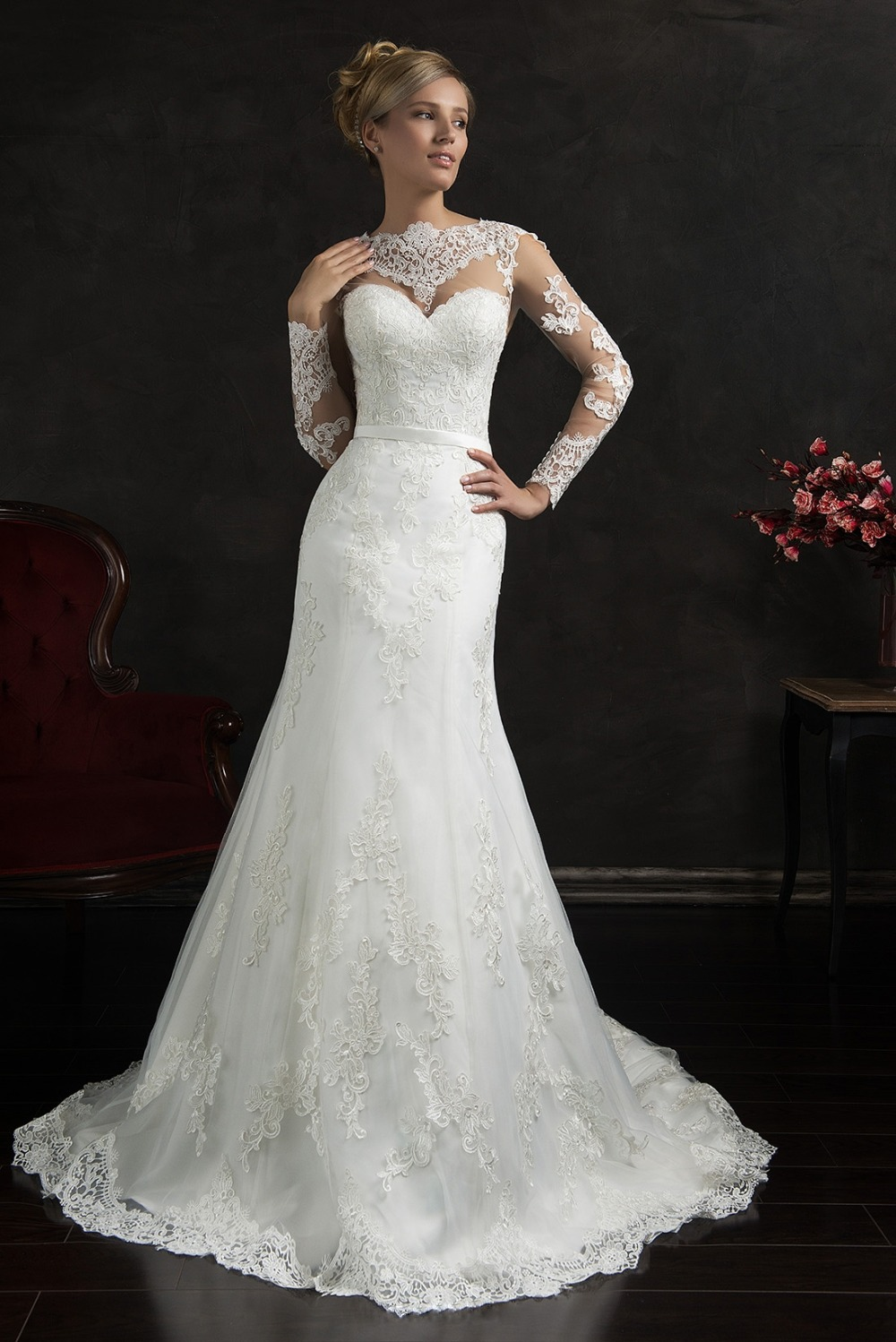 Online Buy Wholesale simple long sleeve wedding dresses from China ...