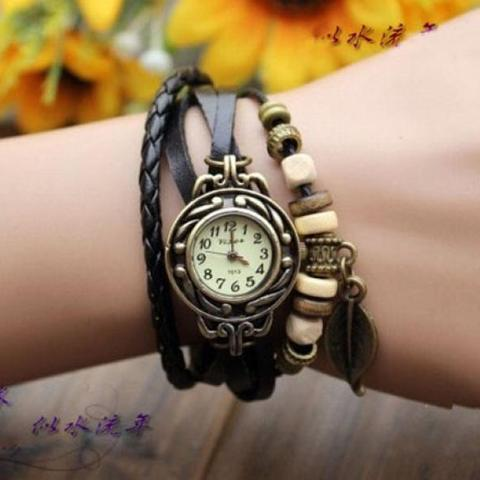 Montres Femmes 2018 Diamond Bracelet Watches Women 1PC Womens Bracelet Vintage Weave Wrap Quartz Leather Leaf Beads Wrist Watch Multan