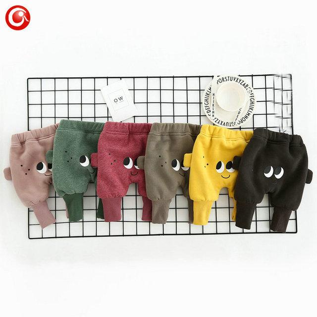 Bebê Meninos Calças Recém-nascidos de Pelúcia Infantil Meninas Harem Olhos Impresso Calças Traje Crianças Cindy Engrosse Calças Quentes Roupas 0-24 M
