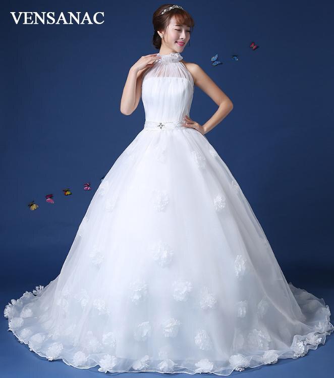 Lace Halter Wedding Gown: VENSANAC 2018 Halter Ball Gown Lace Flowers Appliques