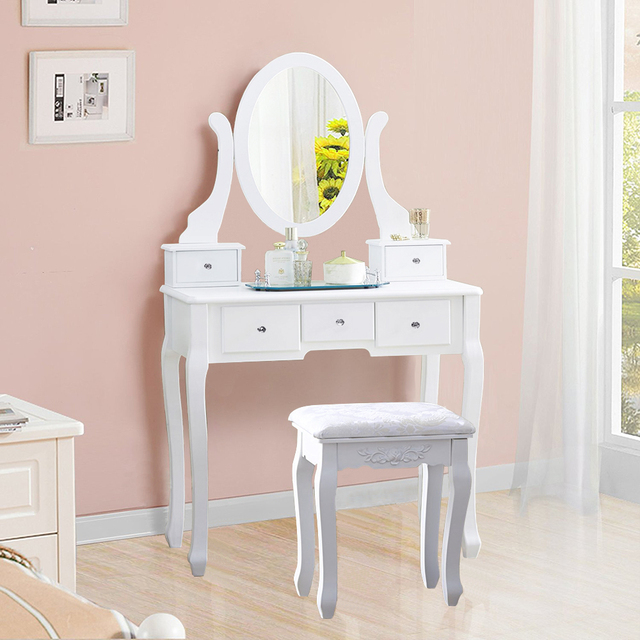White Makeup Dressing Table Vanity Set Oval Mirror Jewelry Wood 5 Drawer Stool Us