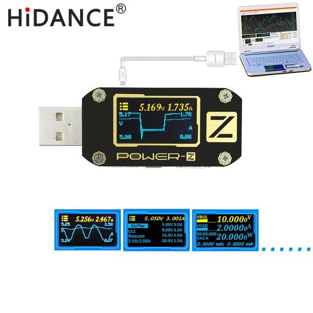 Мощность-Z USB тестер qc3.0/PD Цифровой вольтметр amperimetro как цифровой Напряжение Ток Amp Вольт Тип-C измеритель мощности банк детектор