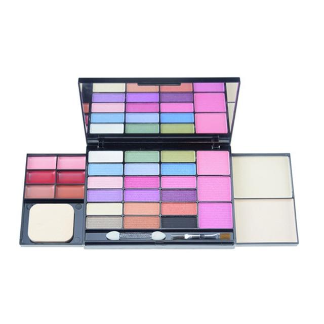 Pro 29 colors shimmer eyeshadow palette naked eye shadow lip gloss blusher powder brush set cosmetics Facial Eye makeup beauty