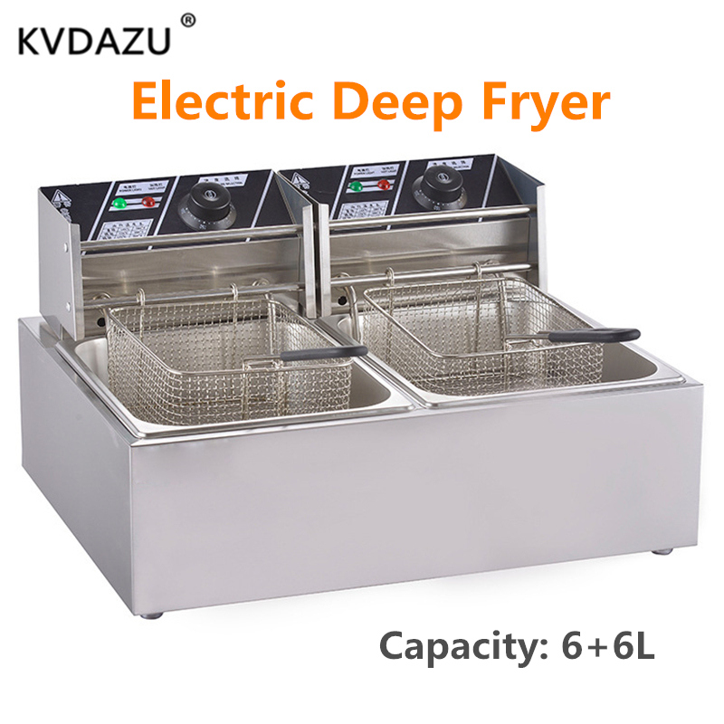 Commercial double screen cylinder  tanks electric deep fryer french fries machine oven pot food frying machine fried chicken rowCommercial double screen cylinder  tanks electric deep fryer french fries machine oven pot food frying machine fried chicken row