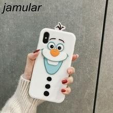 Jamular Cute Cartoon Bear Olaf Phone Case for iPhon