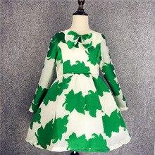 girls Princess long-sleeved dress kid green gauze clothes