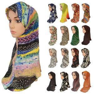 Мусульманский женский хиджаб с принтом Amira Hijabs, цельный мусульманский женский хиджаб, мусульманский головной платок, шарф, шаль, арабские ко...