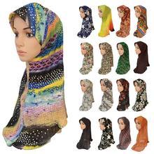Chapeau une pièce imprimé Hijab pour femmes musulmanes, foulard islamique, écharpe, châle, prière arabe, couvre tête et moyen orient