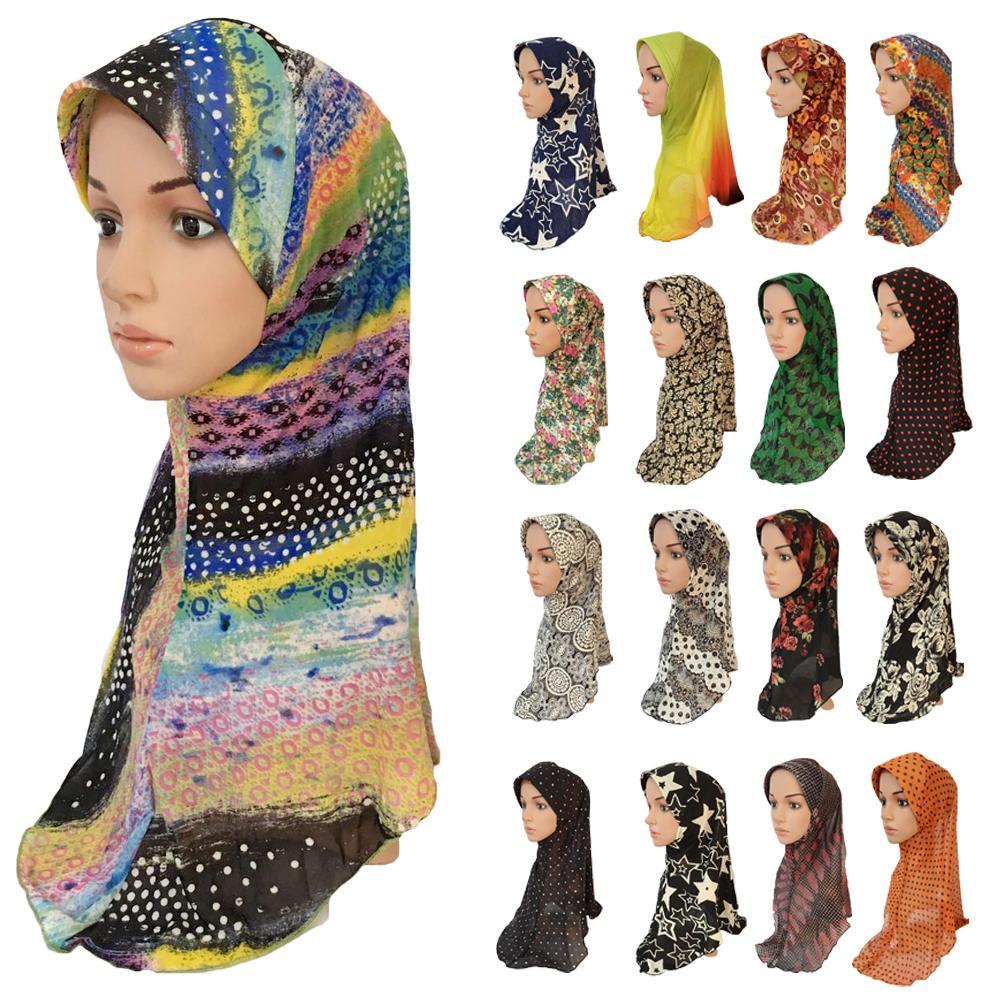 Muslim Women Hijab Printed One Piece Amira Hijabs Hat Islamic Headscarf Scarf Shawl Wrap Arab Prayer Caps Middle East Head Cover