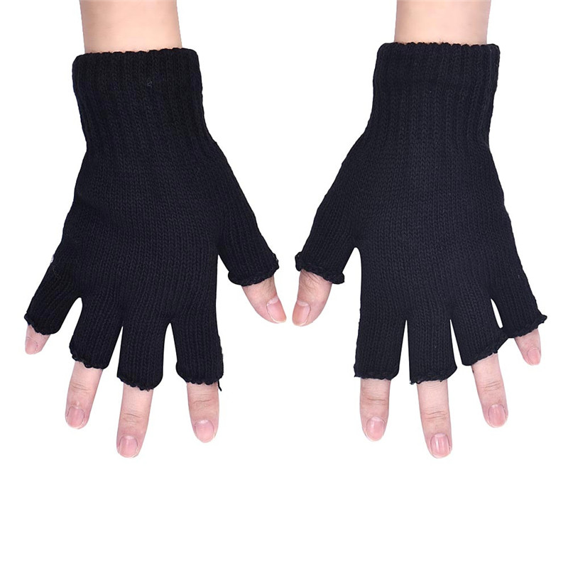 Black Knitted Stretch Elastic Warm Half Finger Fingerless Gloves Winter Gloves Guantes Eldiven Handschoenen 40FE20